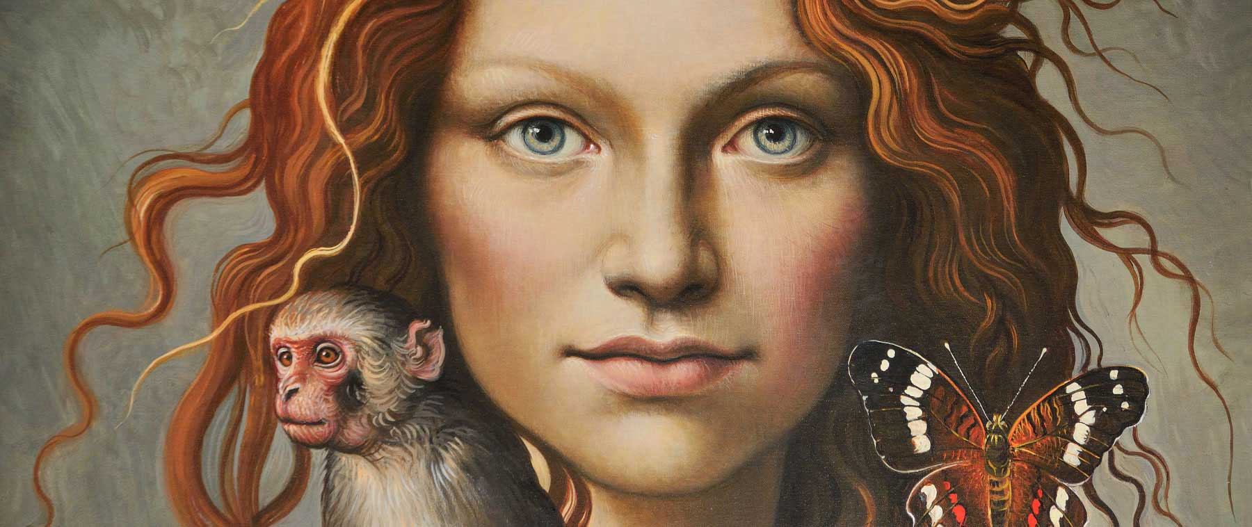 Close-up painting of red-haired woman with a small monkey and butterfly on each shoulder