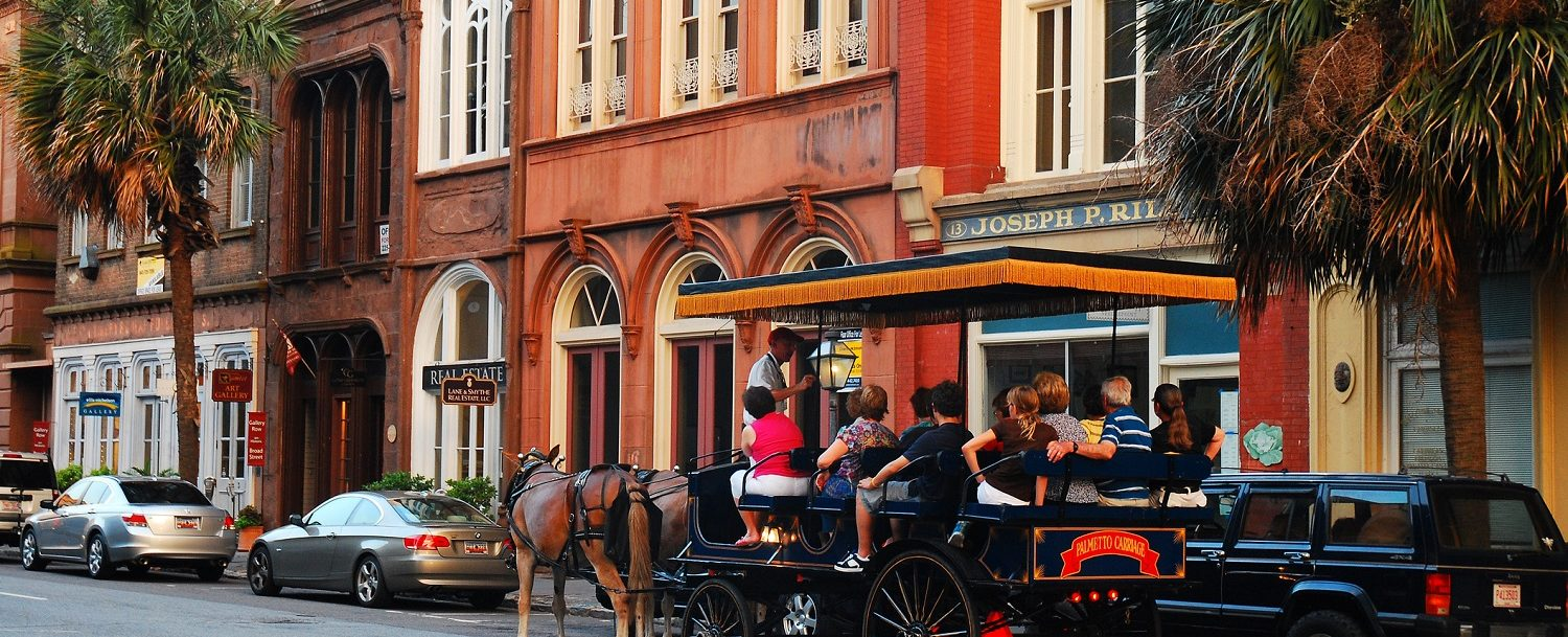 Horse carriage tour on downtown street