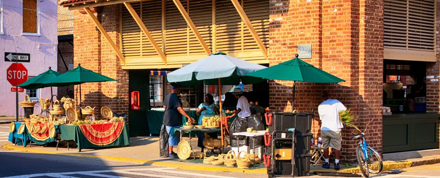 The historic downtown Charleston City Market in SC