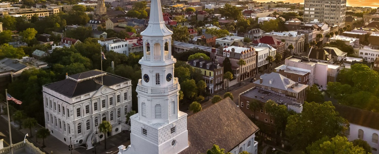 skyline of charleston at sunset