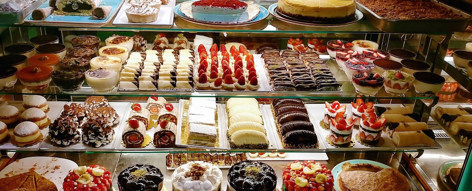 case of pastries and desserts