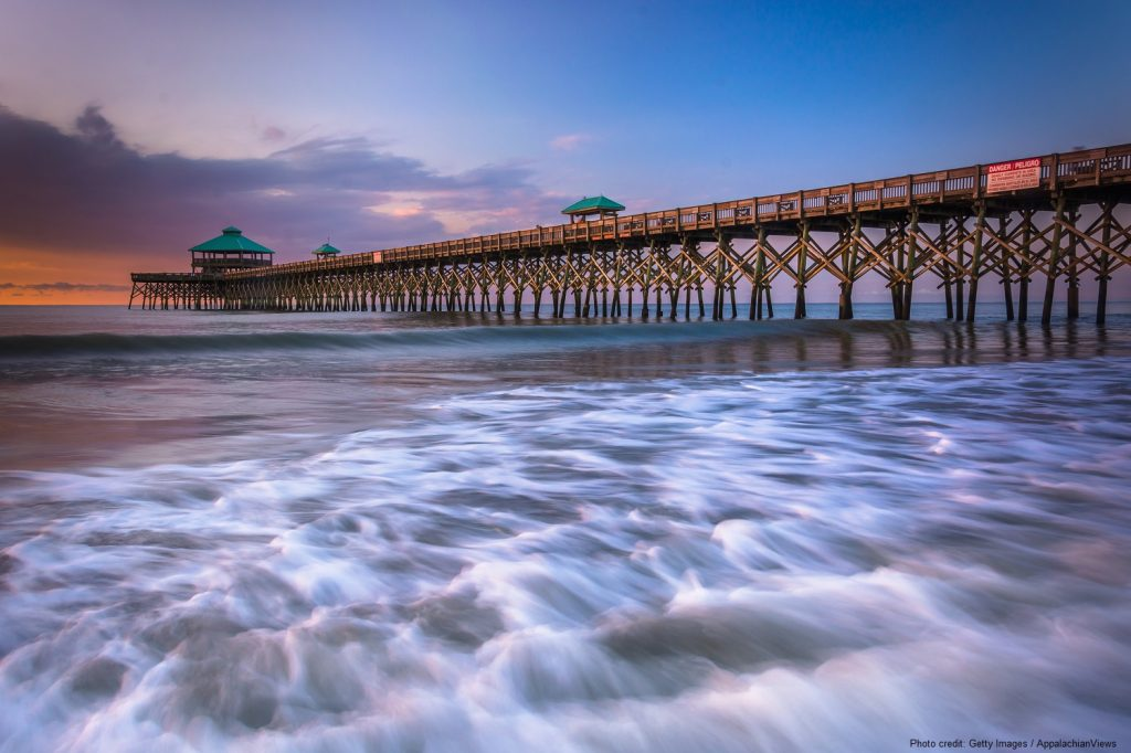 The fishing pier at sunrise, in Folly Beach, South Carolina.
